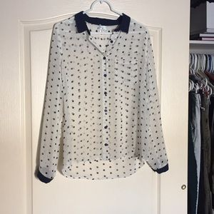 Navy and cream polka dot button up blouse